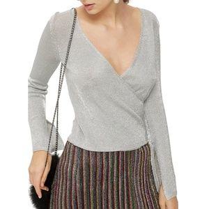 Metal Yarn Wrap Knit Top
